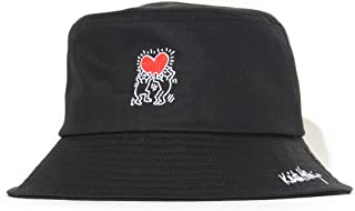 KEITH HARING キースへリング バケットハット 帽子 Wヒューマンハート刺繍 (KH-B3102) F