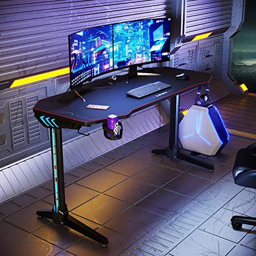 ELEGANT Gaming-Tisch mit LED-Lichtern, groß, 1400 x 600 mm, I geformter Computertisch für Zuhause und Büro, mit Kopfhörer-Haken, Getränkehalter und XL-Mauspad, Schwarz