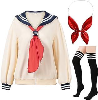 Japanese Anime School Classic Sailor JK Harajuku Top Coat Casual Puff Cute Solid Cozy Jacket Cardigan Socks Bow set