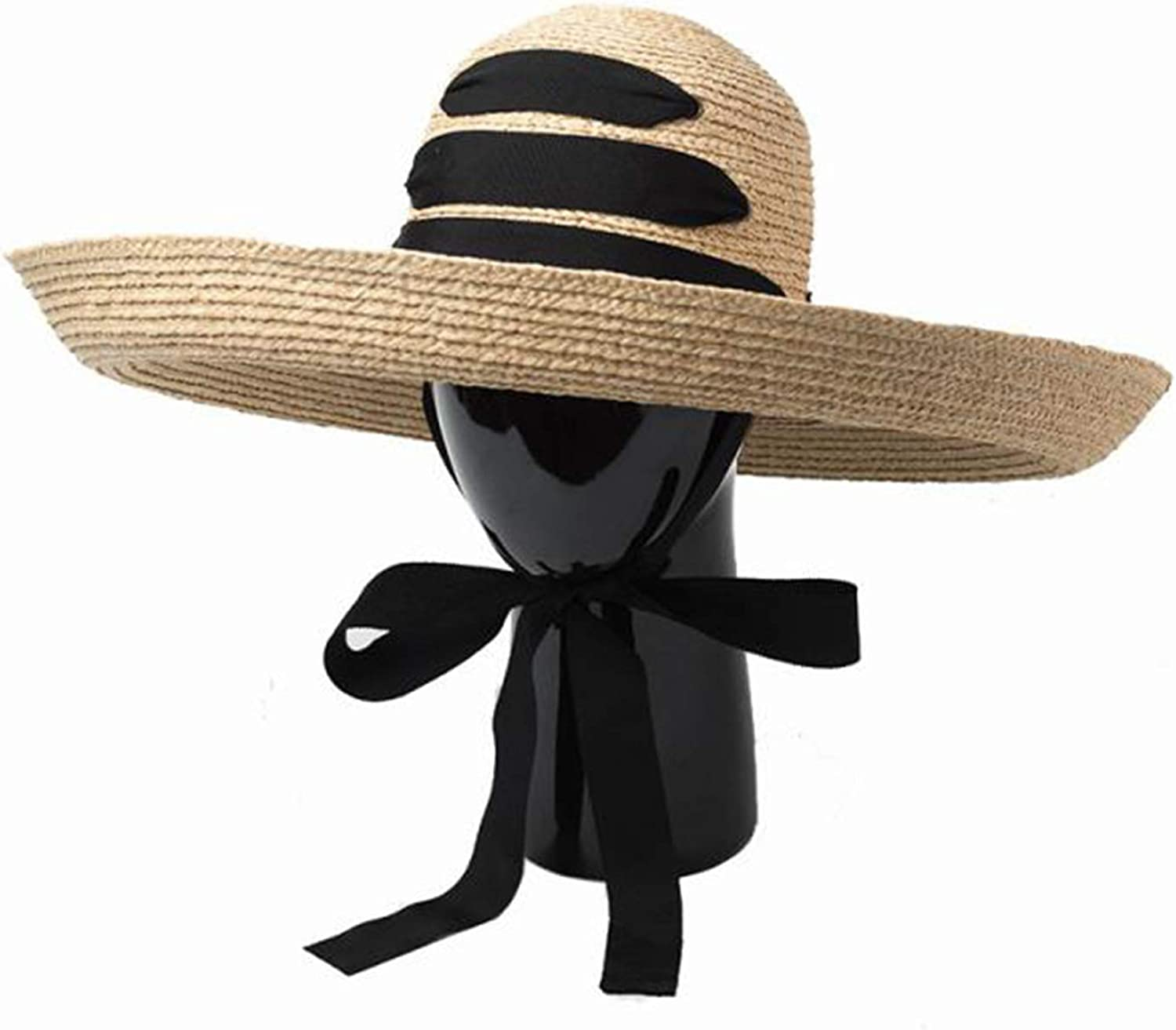Fashion Sun Hat Female, Retro Dome Curling Big Eaves Rafi Grass Straw Hat, Travel Sunshade Big Beach Straw Hat