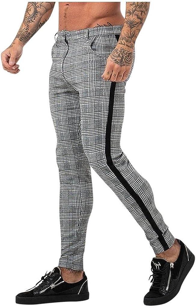 Men's Pants Casual Sport Bodybuilding Flexible Waist Long Pants Plaid Print Zipper Slim Fit Skinny Pnats