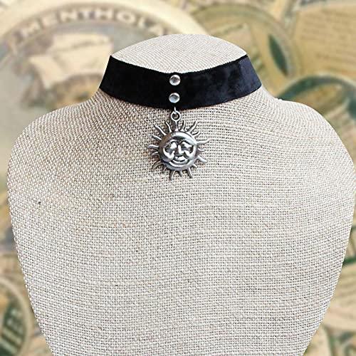 Focisa Collar Colgante Cadena Collares Hombre Mujer Collar Vintage Mujer Collar Gótico Cinta De Terciopelo Negro Retro Sol Gargantilla Collar Joyas Plata