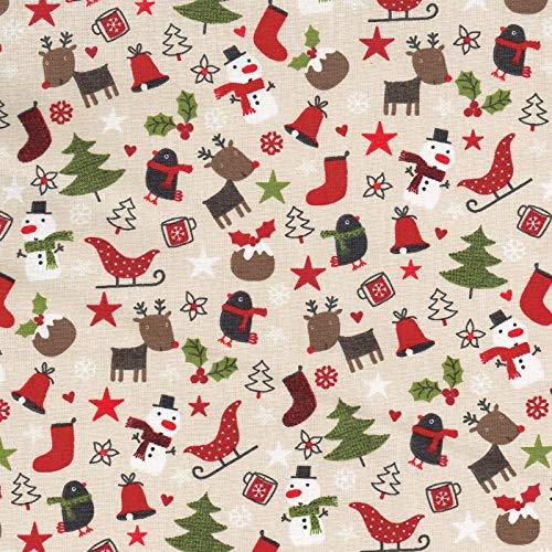 Textiles français Tela Navidad de algodón Estampada - Tiempo de Navidad - Rojo de Navidad, Gris Pardo, Chocolate, Verde y Blanco (Fondo Beige Arena) - 100% algodón | Ancho: 160 cm (por Metro Lineal)*
