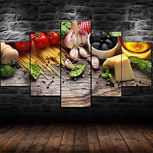 FGJFG Enmarcado Pasta Tomate Aceitunas Ajo Restaurante 5 Piezas Impresión de Lienzo Arte de la Pared Decoración/150X80CM,Mural De La Decoración De La Pared