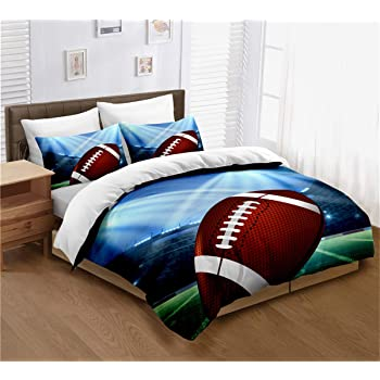 Dark Green nev/_40540/_queen Lunarable Boys Room Duvet Cover Set Queen Size Sketch of American Football Players Running Competition Activity Championship Decorative 3 Piece Bedding Set with 2 Pillow Shams