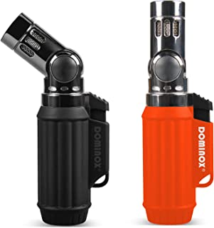 DOMINOX Torch Lighter 2pcs Twinset Packed Butane Lighter Refillable Lighters Adjustable 4 Jet Flame for Gift Grill BBQ Camping (Butane Gas Not Included)