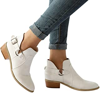 ♪✿ Women's Fashion Boot Pointed Toe Martin Boots Classic Ankle Booties Buckles Shoes