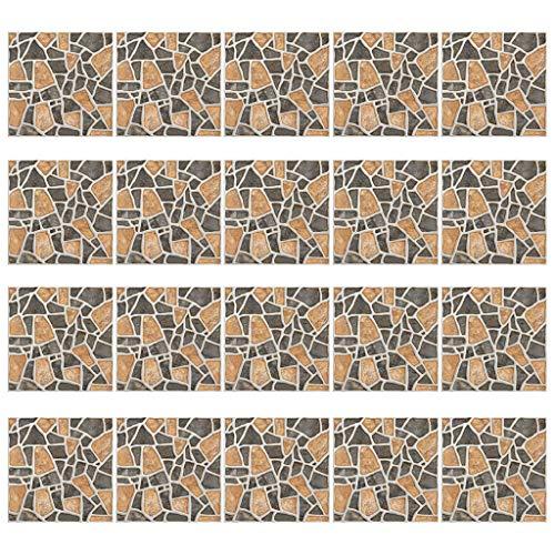 Qirun Piezas Decorativas para el hogar, 20 Piezas de simulación de baldosas de cerámica, Adhesivo para Pared, Pegatinas de PVC Autoadhesivas, decoración