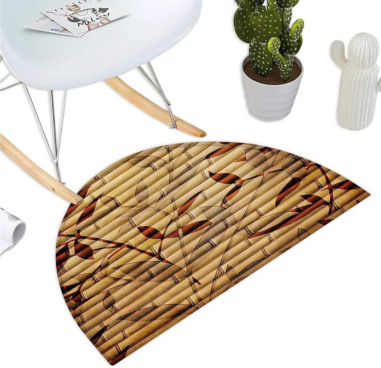 Beige Semicircle Doormat Bamboo Stems and Leaf Figures Over It Spiritual Asian Elements Bohemian Print Halfmoon doormats H 51.1  xD 76.7  Brown Tan Beige