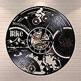 Reloj de pared de vinilo para bicicleta de montaña, diseño retro, color negro
