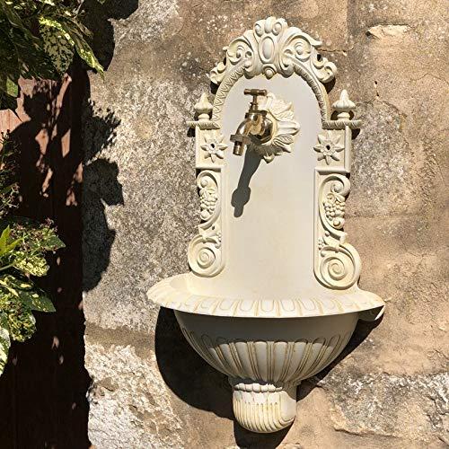 chemin_de_campagne - Fontana da giardino da esterno, in ghisa, 61 x 39 x 19 cm, colore: Bianco