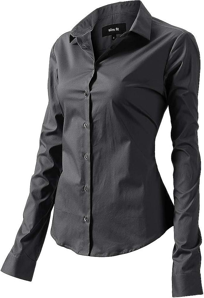 Fly hawk camicia da donna a maniche lunghe 97% cotone 3% poliestere camicetta casual grigia