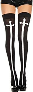 Music Legs Cross Print Stockings
