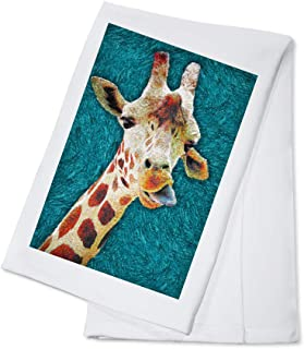 Giraffe with Tongue Out - Van Gogh Style (100% Cotton Kitchen Towel)