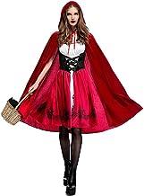 Halloween Caperucita Roja Disfraz Adulto Cosplay Vestido,Sin Mangas Fiesta Creativa Vestido de Las Mujeres + Capa con Capucha