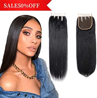 Brazilian Virgin Human Hair Closure Straight 4x4 Lace Closure Three Part Natural Black Color (10 Inch, 4x4 Three Part)