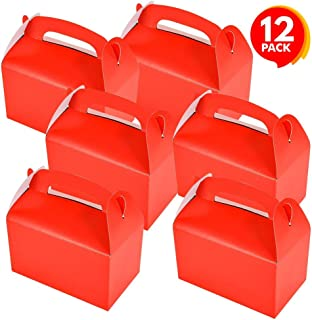 ArtCreativity Red Treat Boxes for Candy, Cookies and Party Favors - Pack of 12 Christmas Cookie Boxes, Cute Cardboard Boxes with Handles for Wedding Candy, Birthday Favors, Holiday Goodies
