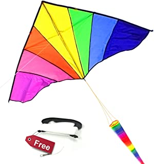 ALLON Easy to Fly Fabric Kite for Kids, Adults & Beginners, Large Beach Toy Kites for Boys & Girls, Big Rainbow Delta Sky Flyer Design, Simple to Assemble & Flying Perfect in The Breeze