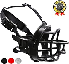 Supet Dog Rubber Muzzle, Soft Adjustable Basket Muzzle for Small Medium Large Dogs Durable Cage Muzzles to Prevent Biting, Chewing and Barking