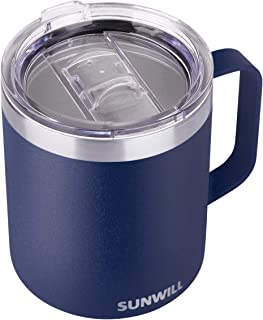 SUNWILL 14 oz Coffee Mug, Vacuum Insulated Camping Mug with Lid, Double Wall Stainless Steel Travel Tumbler Cup, Coffee Thermos Outdoor, Powder Coated Navy Blue