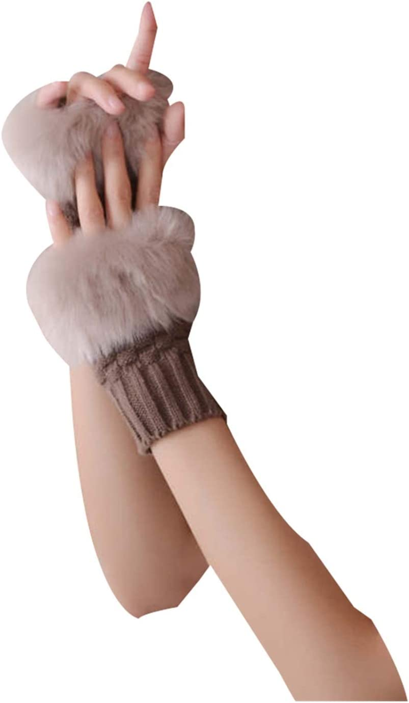 GUYANMAY Lace Gloves Winter Gloves Female Fingerless Gloves Without Fingers Pompom Warm Wrist Mittens Knit Patchwork Guantes Plush (Color : NO.7)