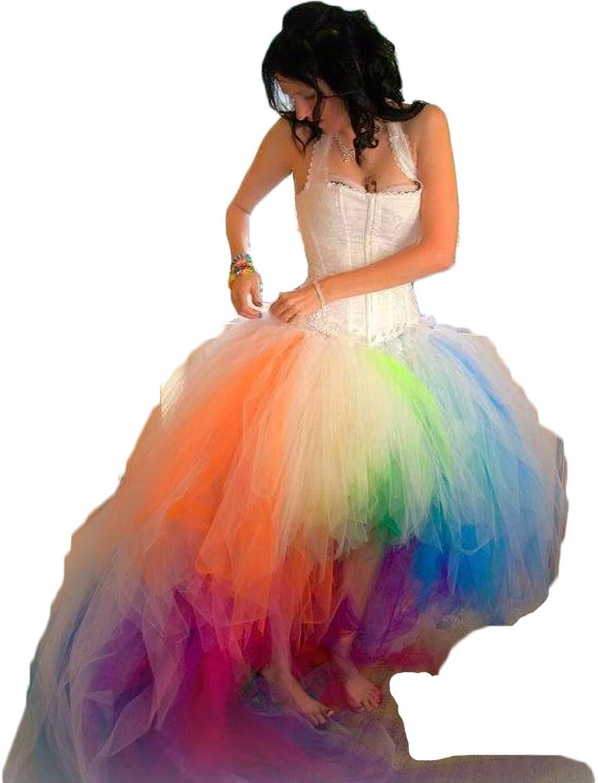 HotDresses colorful Rainbow Camo Wedding Dresses Beach Halter Bridal Gowns
