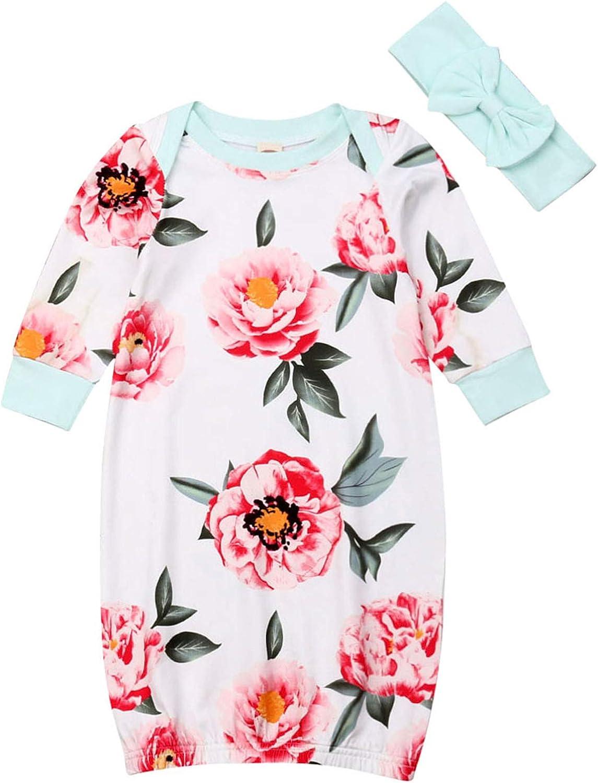 Lefyira Toddler Baby Nightgowns Floral Striped Sleeping Gown Sleepwear Romper Sleeping Bag (0-3M, H-Green)
