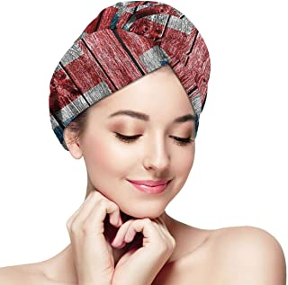 DemarLOO Microfiber Dry Hair Cap For Bath Spa Soft Towel,Super Absorbent Quick Drying Towel Wrap,Turbans For Wet Hair- Cool Wooden UK Flag