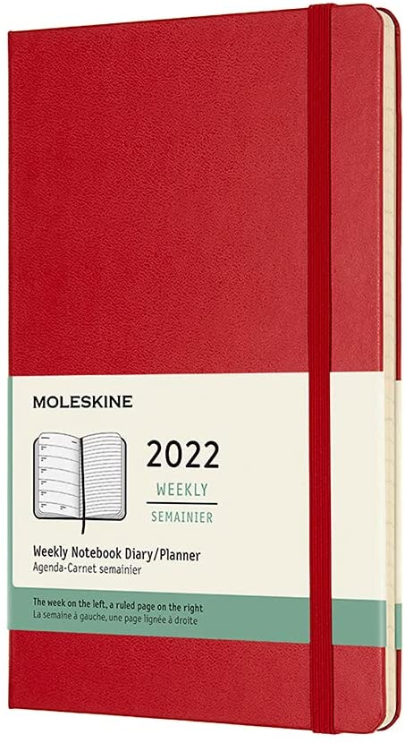 Moleskine 2022 Weekly Planner 12m Free shipping New Scarlet Hard Large Ranking TOP4 Cov Red