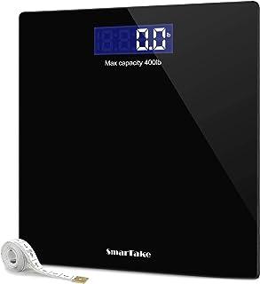 مقیاس وزن، SmarTake دقیق مقیاس بدن بدن دیجیتال با تکنولوژی گام به گام، شیشه ای درجه حرارت 6mm خواندن آسان صفحه LCD با نور پس زمینه، 400 پوند، سیاه