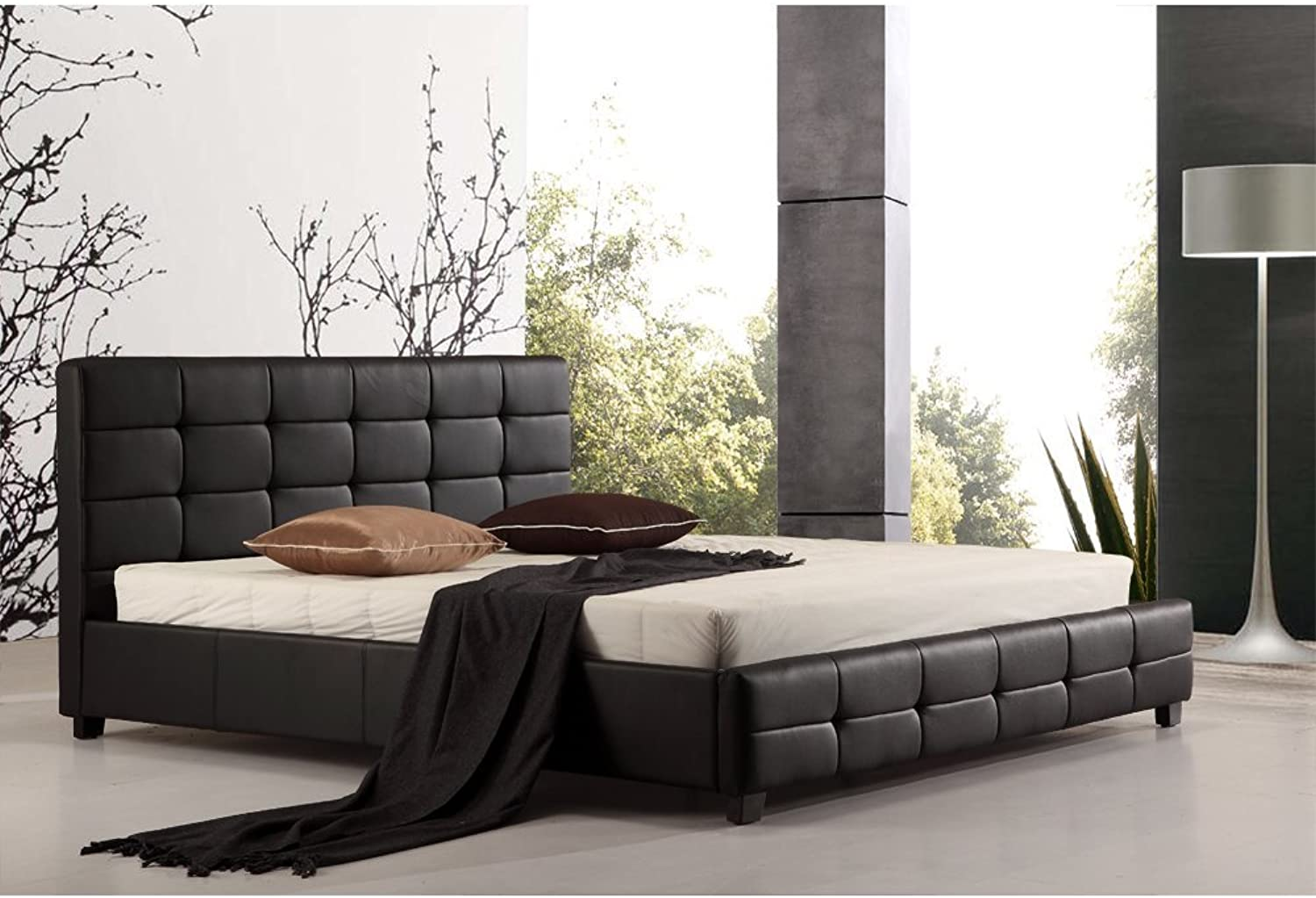 King PU Leather Deluxe Bed Frame and Headboard - 206cm x 192cm Black