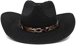 Happy-L Hat, Beach Hat Wild Leopard Belt Outdoor Seaside Sun Visor Western Cowboy National Wind Male Women Couple Straw Hat Leisure Fashion Cap. (Color : Black, Size : 56-58CM)