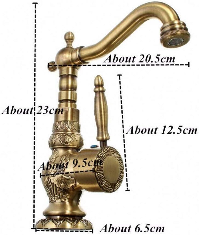 ZHFJGKR&ZL Basin Faucet Antique Brass Bathroom Faucet Basin Carving Tap redate Single Handle Hot And Cold Water Mixer Taps Crane.A