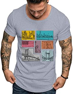 Forthery Men American Flag Printed Tees Cotton T-Shirt Casual Short Sleeve USA 4th of July Shirts Tops