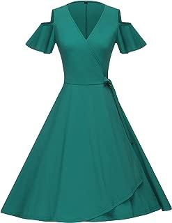 GownTown Women's 1950's Retro Style Short Sleeve Wrap Dresses