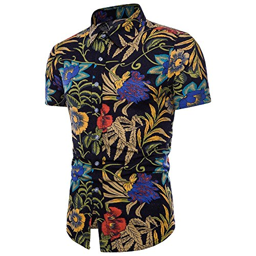FRAUIT heren zomer boom T-shirt Floral korte mouwen linnen basic T-shirt blouse top plus grootte Hawaiian shirt mannen flamingo blad print strand Aloha Party Camp vakantie casual
