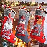 Ansody Medias de Navidad, calcetín de Navidad Juego de 3 Calcetines Grandes de Papá Noel de 18.7'Calcetines navideños decoración Papá Noel muñeco de Nieve Renos Calcetines navideños para decoración