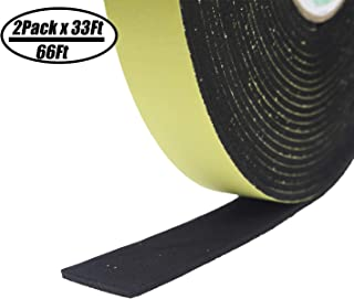 "Foam Insulation Tape Adhesive-For Seal, Doors, Weatherstrip, Waterproof, Plumbing, HVAC, Windows, Pipes, Cooling, Air Conditioning, Weather Stripping, Craft Tape 66Ft (2 Rolls, 33 Ft- 1/8"" x 1"" x 33`)"