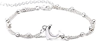 Ankle Sterling Silver 14K Gold Adjustable Beach Anklet Bracelet Multi-Layer Foot Jewelry Set for Women,Girls