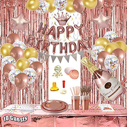 Decoración de cumpleaños, decoración para cumpleaños, decoración de fiesta de oro rosa, para niñas y mujeres, banderines de cumpleaños, globos y vajilla para 10 invitados.