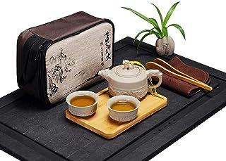HOOBAR China / Japan Kung Fu Tea Set Portable Travel Tea Set Ceramic teapot, Tea Cup, Bamboo Tea Tray, Tea pad with Travel...