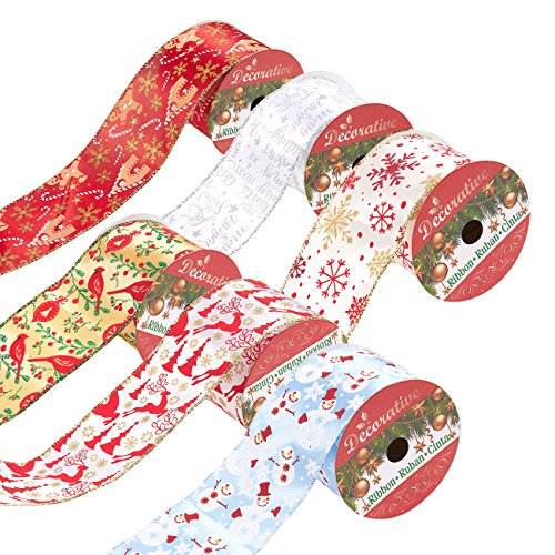 Juvale Pack of 6 Assorted Christmas Ribbons - Wired Satin Ribbons for Craft Projects, DIY, Decoration, Gift Wrap, 2.5 Inches x 5 Yards, Assorted Colors