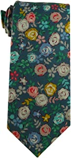 Youth Tie for children ages 8-14 years old Blue Cotton Floral for boys with pink and yellow flowers