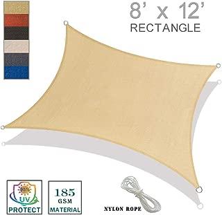 SUNNY GUARD 8' x 12' Sand Rectangle Sun Shade Sail UV Block for Outdoor Patio Garden