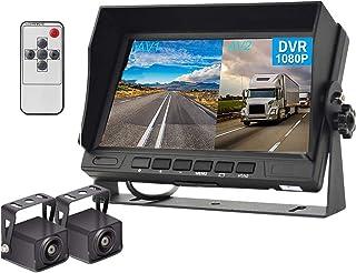 Hodozy Backup Camera 2 Split Screen Monitor System DVR Recording 7 inch 1080P Dual Waterproof Night Vision Rearview Camera... photo