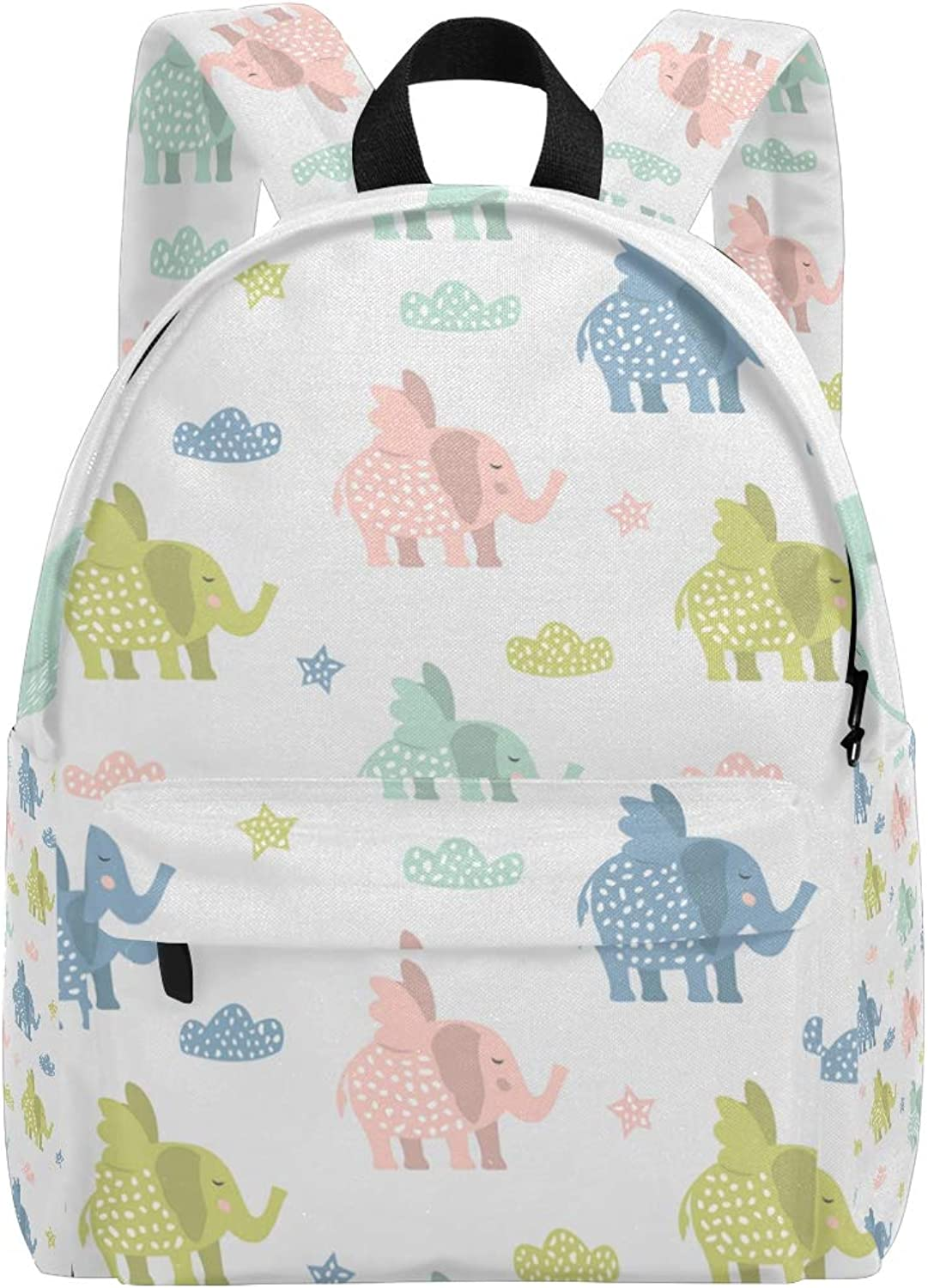 College Bookbag Cute Elephants with Dots colorful Print Schoolbag Unisex Backpack Hiking Daypacks Travel Sports Bags