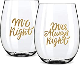 Gifffted Mr right Mrs Always Right Wine Glasses,Wedding Gift, Anniversary Gifts For Couple,Engagement Gifts For his and her,Bride and Groom, ChristmasGift For Couples, Bridal Shower Gift, 18OZ
