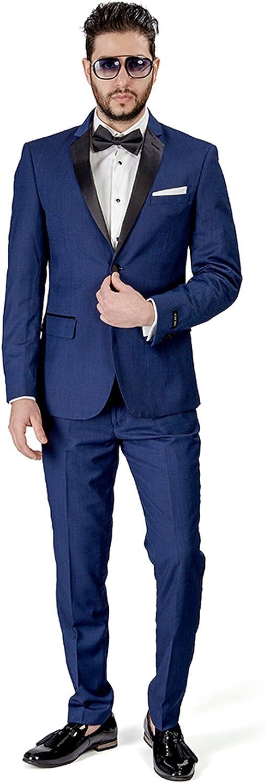 Slim Fit Men Suit Tuxedo 2 Button Satin Collar Flat Front Pants AZAR