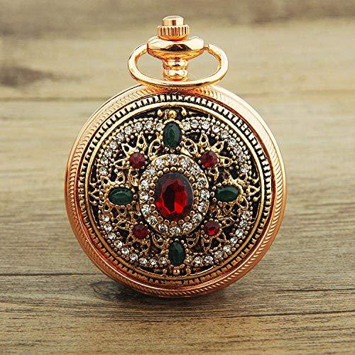 J-Love Gold Palace Bohème Amour Coeur Rouge Montres De Poche Pull Vintage Montre De Poche Turque Pendentif Collier