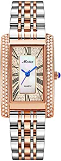 Ladies Rose Gold Square Case Quartz Watches Women Square Casual Ladies Watch - 3ATM Water Resistant Stainless Steel Band (...